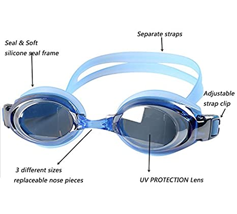 55b0bba7f8 Amazon.com   YINGNEW UV Protection Prescription Swim Goggles Adjustable Size  for Kids Adults Youth