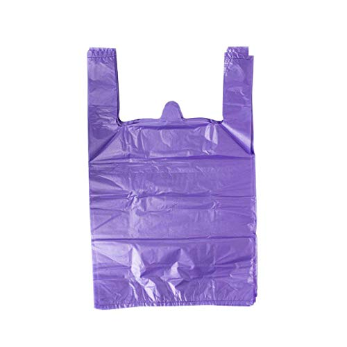 LazyMe 12 x 20 inch Plastic Thick Purple T Shirt Bags, Handle Shopping Bags, Multi-Use Large Size Merchandise Bags, Purple Plain Grocery Bags, Durable (100, Purple) by LazyMe