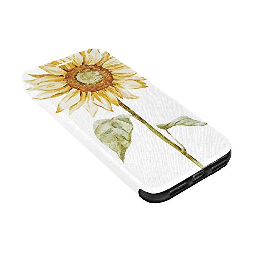 Watercolor Leather Phone Case,Alluring Sunflowers Summer Inspired Design Agriculture Decorative Compatible with iPhone X, iPhone X