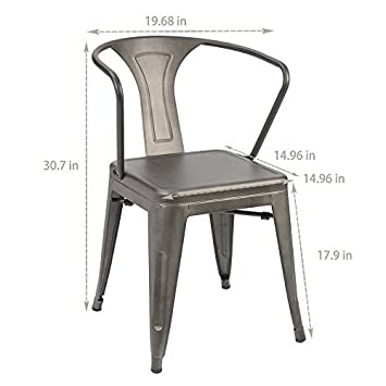 Furmax Metal Chairs with Arms Gun Metal Indoor Outdoor Use Stackable Chic Dining Bistro Cafe Side Chairs Set of 4