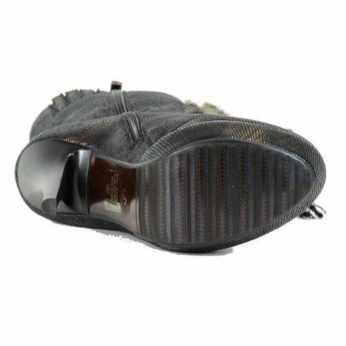 Italina Damesmode Veters Middenkalf Van Stilleto Boots Bd2507 Schoenen Zwart