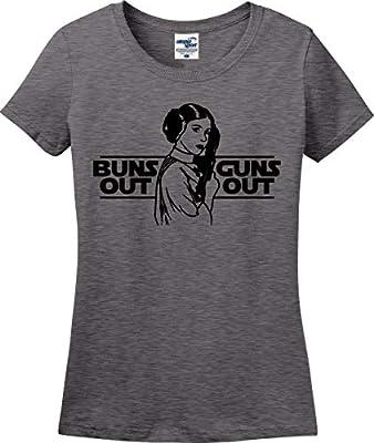 Buns Out Guns Out Princess Leia Star Wars Parody Funny Ladies T-Shirt (S-3X)