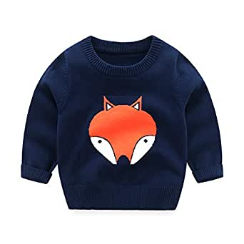 HUAER& Baby Boys Girls Knit Sweater Unisex Cotton Cartoon Animal Pullover Sweatshirt (18-24Months (Height:33-35 inch), Dark Blue & Fox)