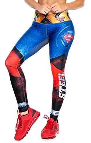 Drakon \ Fiber Superhero Many Styles Leggings Yoga Pants Compression Tights (Superman Blue - Fiber)]()