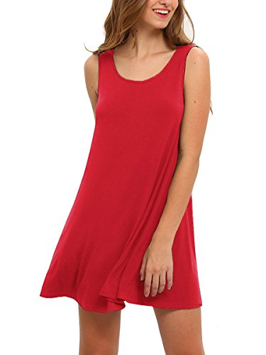 Romwe Women's Tank Dress Sleeveless Summer Loose Casual Swing T-Shirt Dresses Red (M&m Red Tank Dress)
