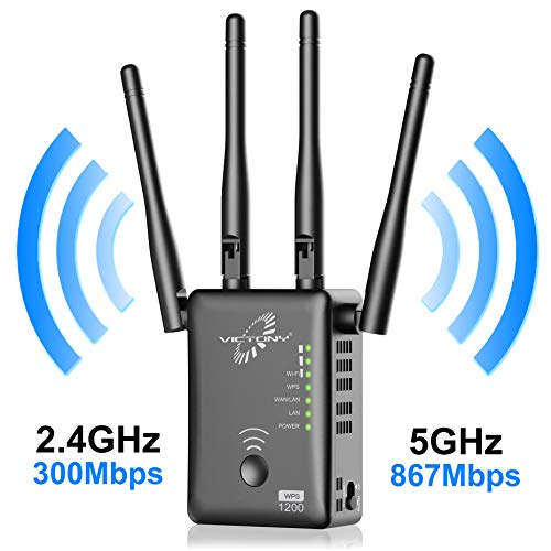 VICTONY WiFi Range Extender 1200Mbps WiFi Signal Booster with Hign Performace External Antennas WiFi Extender for 2.4G and 5G Frequency