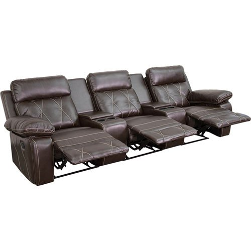 Parkside Home Comfort 3-Seat Reclining Brown Leather Theater Seating Unit with Straight Cup Holders