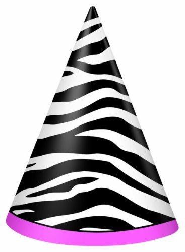 Pink Zebra Passion Cone Hats (8 ct) Unique