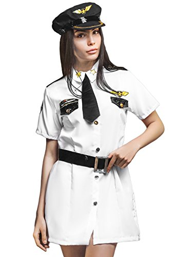 Airplane Themed Costumes (Adult Women Airline Pilot Captain Airplane Aviation Costume Role Play Dress Up (Small/Medium, White, Black, Yellow))