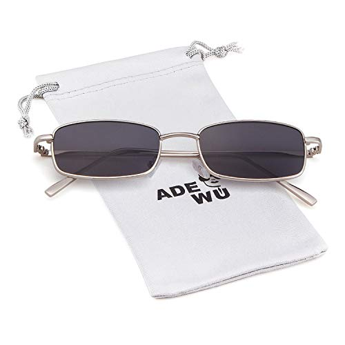 Frame Lens Gray Men Women for Square Fashion Retro Silver Dark Glasses ADEWU Sunglasses Ox7CqwSCv