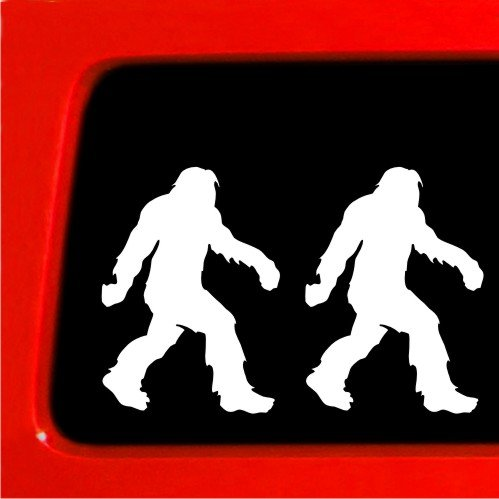 "Sticker Connection | Sasquatch Stick Figure Family Bumper Sticker Decal for Car, Truck, Window, Laptop | 5""x3.6"" (White)"