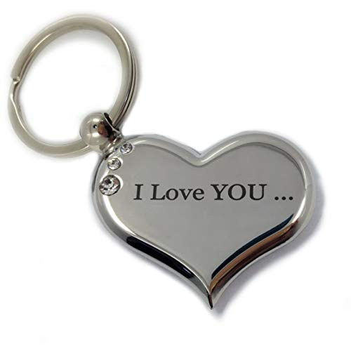 Heart Keychain I Love You to The Moon and Back Best Valentines Day Gift for Her Him Both Sides Engraved Couples Keychains for Girlfriend Boyfriend Fiance Birthday Romantic Present Cute Unique Design
