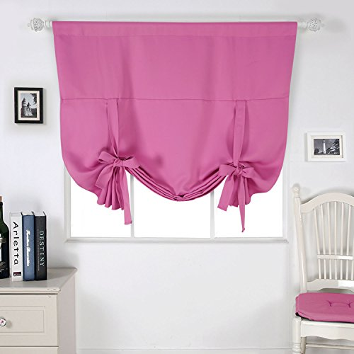 Deconovo Solid Color Rod Pocket Blackout Curtains Panel Room Darkening Curtains for Girls Room Rose 46W x 63L