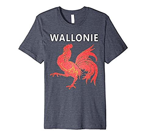 Mens Wallonie Rooster Tee - New Artistic Deluxe Slim-fit T-shirt Medium Heather Blue - Deluxe Blue Shirt