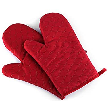Bekith Silicone Cotton Oven Mitts -Best Heat Resistant Kitchen Cooking Glove & Pot Holder Set(Red)