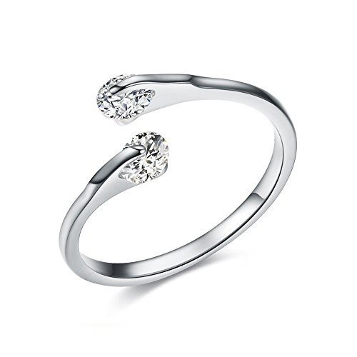 White Gold Platinum Rings (Difines Redbarry 18k Platinum Plated Double 0.25ct CZ Tension-mount Engagement Open Rings, Size 8)
