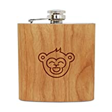 Laughing Monkey 6 Oz Wooden Flask (Cherry), Stainless Steel Body, Handmade In Usa