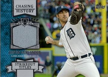 2013 Topps Chasing History Relics #CHR-JV Justin Verlander Game Worn Jersey Baseball Card