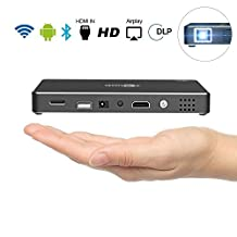 Android Wifi Smart Pico Projector, GBTIGER TOUMEI Multimedia DLP Rechargeable Mini Video Projector Android 4.4 Support HD 1080P Built-in Speaker Ideal for Home Theater Cinema Movie Entertainment Games Parties, Black
