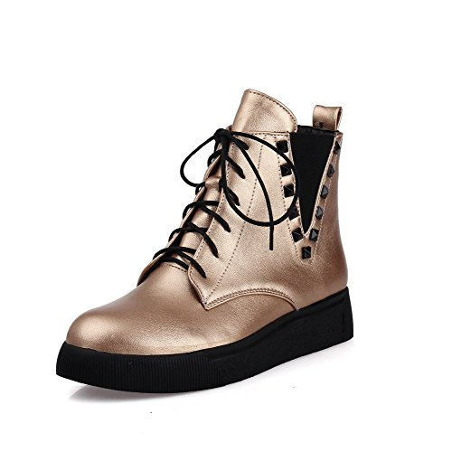 Allhqfashion Women's PU Low-top Solid Lace-up Low-Heels Boots Gold YBGRCb