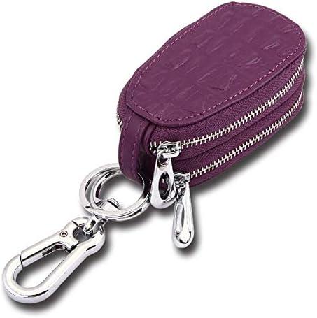 車のキーカバー多機能レザーキーバッグの周囲には、エンボス加工本革キーケースダブルジッパー (Color : Purple)