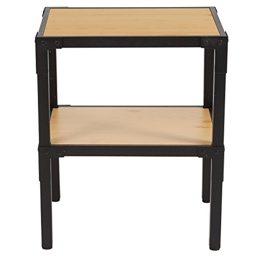 Flash Furniture Holmby Collection Knotted Pine Wood Grain Finish Side Table with Black Metal Legs by Flash Furniture (Image #2)
