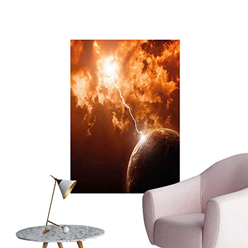 Wall Stickers for Living Room Moon with Lightning and Clouds Dramatic Cosmos Galaxy Themed Picture Redwood Dark Orange Vinyl Wall Stickers Print,28
