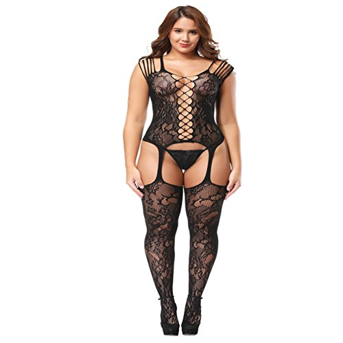 Deksias Fishnet Bodystocking Plus Size Crotchless Bodysuit Lingerie for Women (Plus Size, B)