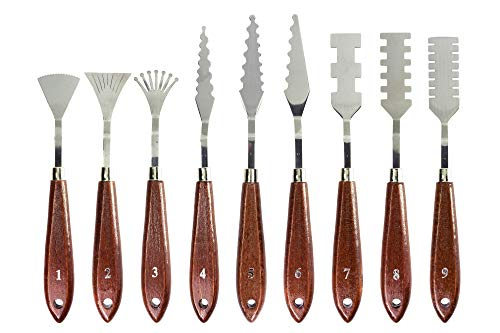 (Stainless Steel Palette Knives for Artists - 9 Piece of Spatulas for FX Special Effects - Thin and Flexible Art Tools for Oil Painting, Acrylic Mixing, Etc. )