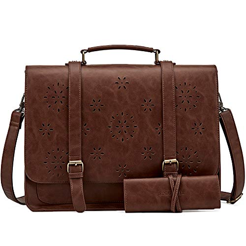 SOSATCHEL Faux Leather Vintage 15.6 Inch Laptop Bag, Messenger Satchel Shoulder Bag for Men and Women, Brown - Korchmar Leather Satchel