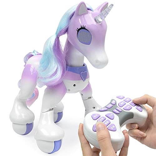 Remote Programming - singa-z Unicorn Interactive Toy - Electric Smart Horse, Remote Control Touch Induction Electronic Pet, Features Include Children's Songs, Dancing, Stories, Sleep, Programming, Etc.