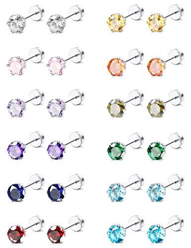 ORAZIO CZ Stud Earrings for Girls Women Stainless Steel Cubic Zirconia Screwback Earrings Set 5MM