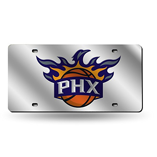 Phoenix Suns Laser - Rico Industries NBA Phoenix Suns Laser Inlaid Metal License Plate Tag, Silver
