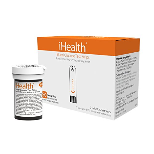 iHealth Blood Glucose Test Strips (50 Count) (Blood Less Diabetic Test)