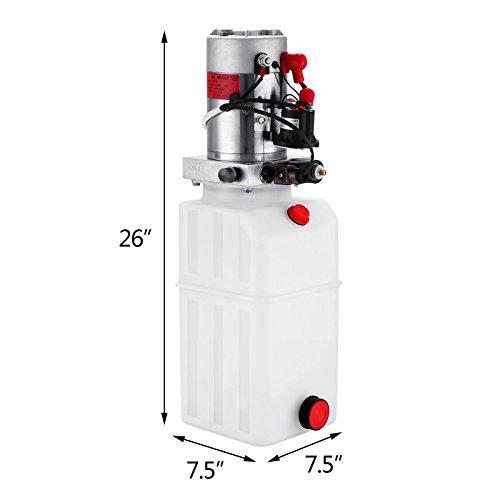Happybuy Hydraulic Pump 12V DC Single Acting Hydraulic Power Unit 8 Quart Plastic Tank Hydraulic Pump Power Unit for Dump Trailer Car Lifting (8 Quart Single Acting Plastic) by Happybuy (Image #1)