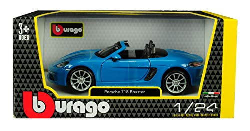 (Porsche 718 Boxster Blue 1/24 Diecast Model Car by Bburago 21087)