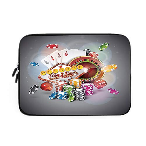 - Poker Tournament Decorations Laptop Sleeve Bag,Neoprene Sleeve Case/Welcome to Casino Colorful Chips Cards Dice Roulette Jackpot Decorative/for Apple MacBook Air Samsung Google Acer HP DELL L