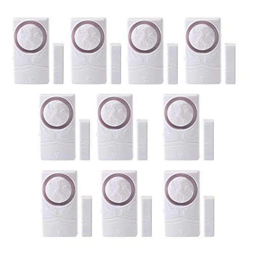 (Wsdcam Door and Window Alarm for Home Antitheft Alarm Systems Magnetic Sensor Time Delay Alarm(10-Pack), Loud 110 dB)