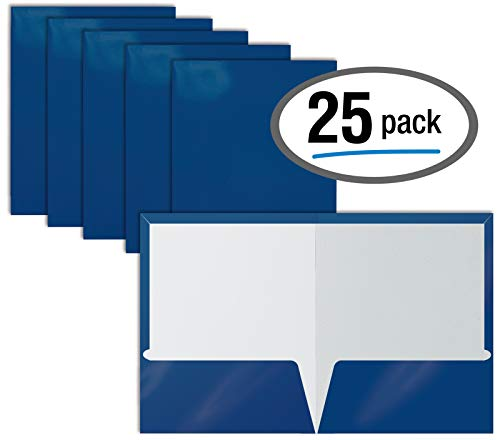 2 Pocket Glossy Laminated Blue Paper Folders, Letter Size, Blue Paper Portfolios by Better Office Products, Box of 25 Blue Folders ()