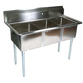 John Boos E Series Stainless Steel Sink, 12″ Deep Bowl, 3 Compartment, 59″ Length x 23-1/2″ Width