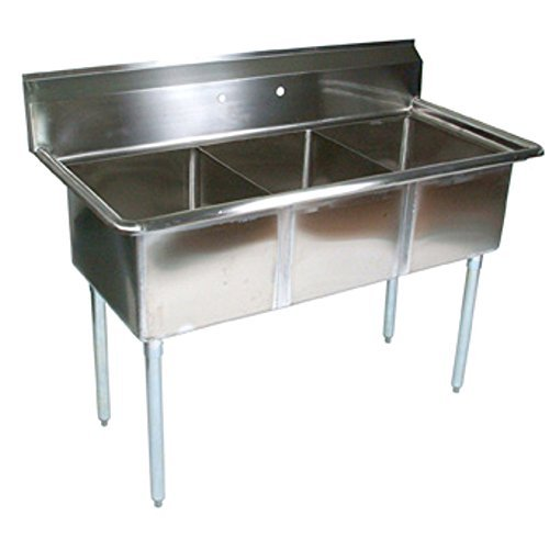 John Boos E Series Stainless Steel Sink, 12'' Deep Bowl, 3 Compartment, 59'' Length x 23-1/2'' Width by John Boos