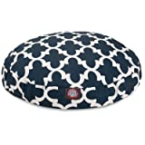 Navy Trellis Medium Round Indoor Outdoor Pet Dog Bed With Removable Washable Cover By Majestic Pet Products