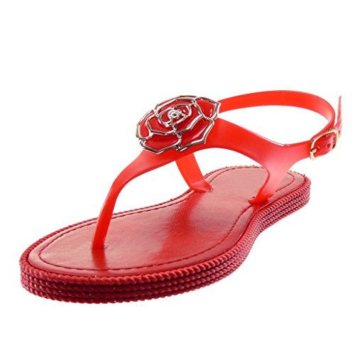 Angkorly Women's Fashion Shoes Flip-Flops Sandals - Ankle Strap - t-Bar - Flowers - Jewelry - Golden Flat Heel 1 cm Red NBe1yBfCz3