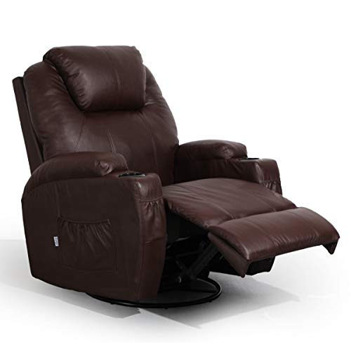 Massage Recliner PU Leather Ergonomic Lounge Heated Chair 360 Degree Swivel (Brown)