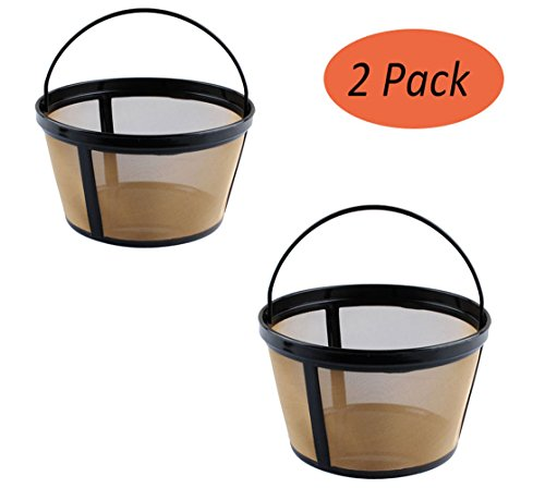 Podoy Basket-Style Filter (Pack of 2) Reusable 10-12 Cup Coffee Gold Tone Permanent Coffee Filter for Mr. Coffee GTF2-1