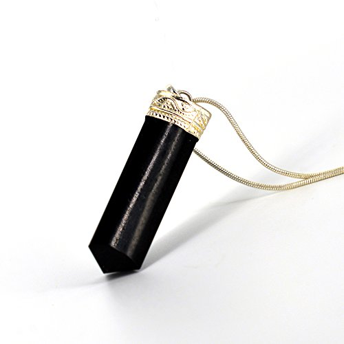 "Raw Black Tourmaline Crystal Healing Pendant Necklace –Protection Negative Energy Cleanser Natural Stress Aid Soothe Mind Emotions - Authentic Stone on Silver Plated 18"" Chain Chakra Healing Charm"