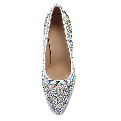 Toe Spring Heel High PU L Casual White Rhinestone Pointed Stiletto for Summer YC Women's White Heel Shoes xwHqBSPRqy