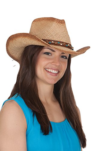 Jacobson Straw Cowboy Hat - Tea Stain Western Hat Beads on Band
