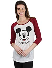 Disney Mickey Mouse Raglan Women's Juniors Style Graphic Shirt Beige