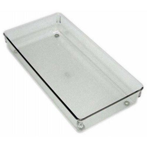 InterDesign Linus Divisorio per cassetti, Grande organizzatore cassetti per accessori e utensili in plastica, trasparente 52650 argenteria armadio bricolage